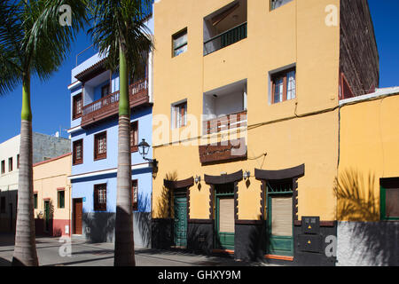 Houses in Calle de Mequines, Puerto de la Cruz town, Tenerife island, Canary archipelago, Spain, Europe - Stock Photo