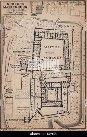 ZAMEK W MALBORKU. Ordensburg Marienburg. Malbork Castle plan. Poland, 1900 map - Stock Photo