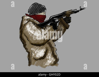Fighter with rifle, in the act of shooting, hand drawn - Stock Photo