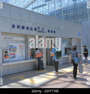 People check bus and taxi information at Kanazawa Station in Kanazawa Japan. - Stock Photo