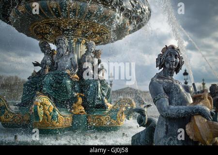 the fountains in the Place de la Concorde, Paris, France - Stock Photo