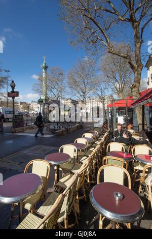 a cafe in the Place de la Bastille, Paris, France - Stock Photo