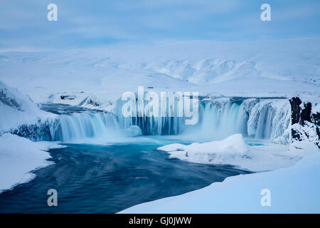 Goðafoss in winter, Bárðardalur district of North-Central Iceland - Stock Photo