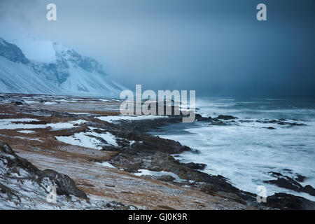 the coast at Eystrahorn on a stormy winter day, eastern Iceland