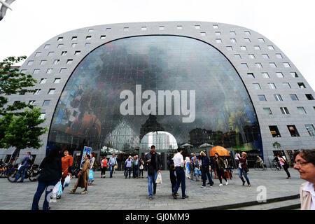 The beautiful Markthal ( Market Hall ) in Rotterdam. - Stock Photo