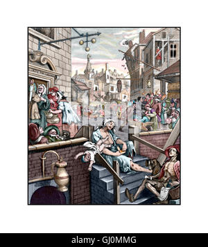 Gin Lane, Illustration from the 1751 engraving by William Hogarth, sharpened and coloured - Stock Photo