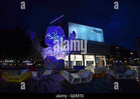 The colorful Schouwburgplein ( Theater square ) in Rotterdam. Stock Photo