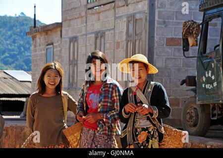 Local villagers, trekking in Kalaw, Myanmar - Stock Photo