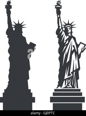 Double silhouette of the famous Statue of Liberty in New York City - Stock Photo