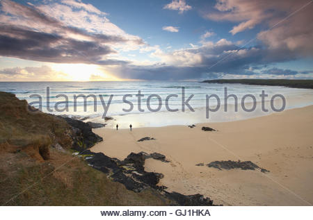 The empty white beach of Traigh Shanndaigh, near Eoropie, Isle of Lewis, Outer Hebrides, Scotland. - Stock Photo