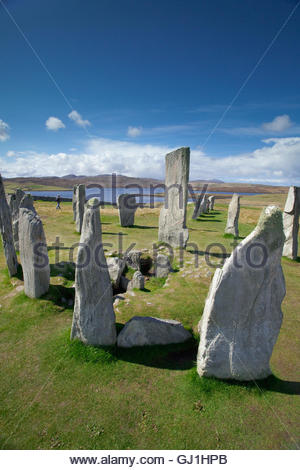 Visitors at the Calanais Standing Stones, Calanais, Isle of Lewis, Outer Hebrides, Outer Hebrides. Scotland - Stock Photo