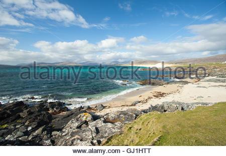 An empty white beach at Borvemore, Isle of Harris, Outer Hebrides, Scotland - Stock Photo
