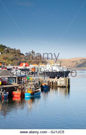 The MV Isle of Mull Caledonian MacBrayne Ferry leaving port, Oban, Argyll, Scotland. - Stock Photo