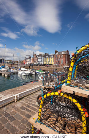 Yachts and boats moored in the harbour at Arbroath, Angus, Scotland. - Stock Photo