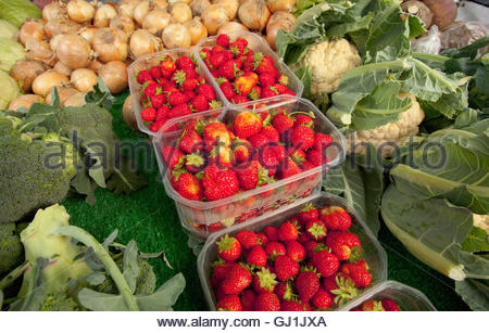locally grown fruit and vegetables on sale at the farmers market, - Stock Photo