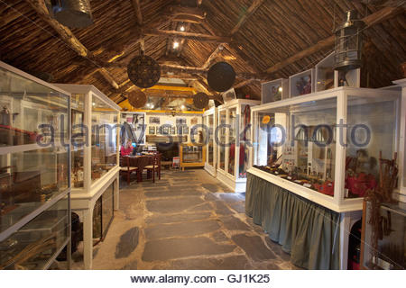 The Glencoe and North Lorn Folk Museum in an early 18th Century restored thatched cottage - Stock Photo