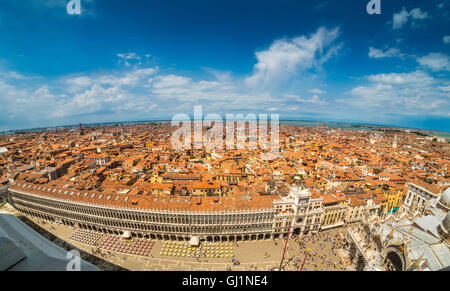 Aerial panoramic view of Venice, with St Mark's Square and the basilica in the foreground. - Stock Photo