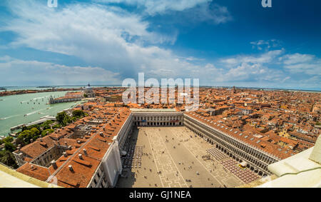 Aerial panoramic view of St Mark's Square seen from the roof of St Mark's basilica. - Stock Photo