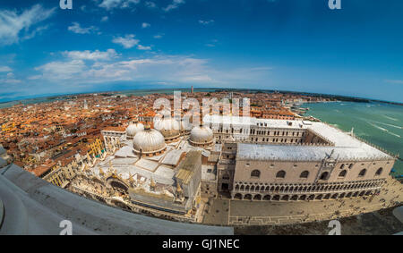 Aerial panoramic view of Doge's Palace and the 5 domes of St Mark's basilica. St Mark's Square,Venice, Italy - Stock Photo