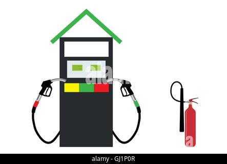 Filling Gun on Refueling the Car and fire extinguisher. Vector I - Stock Photo