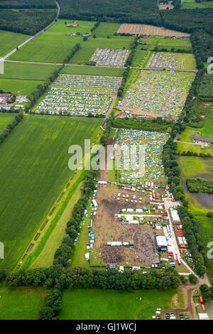 Aerial view, Ruhrpott Rodeo, Car Parking, caravan park, Punk Festival, Music Festival at the airport Schwarze Heide - Stock Photo