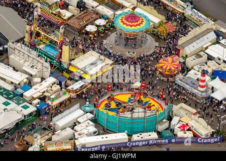 Aerial view, whirligig Gikas Wellenflug, Cranger Kirmes 2016 largest folk festival in the Ruhr, Herne Crange, Ruhr - Stock Photo