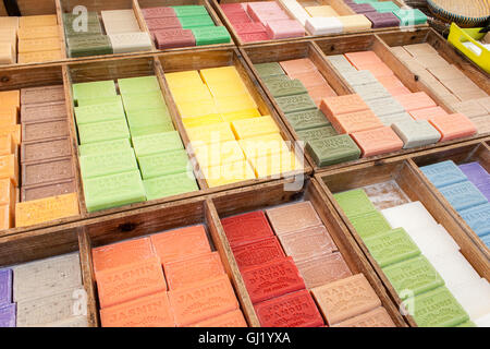colorful and fragrant herbal soap market in France - Stock Photo