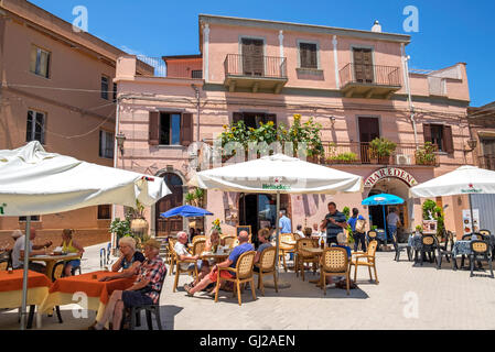 The village square in Forza d'Agro on the island of Sicily, Italy - Stock Photo