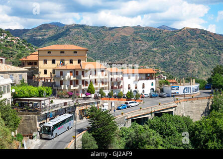 The village of Savoca high in the Peloritani mountains on the island of Sicily, Italy. - Stock Photo