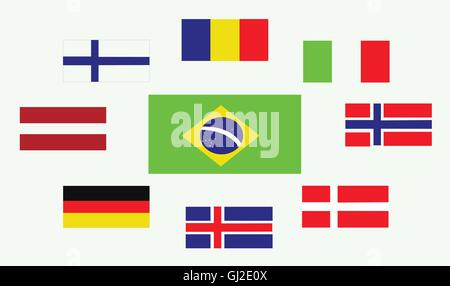 Set of country flags, Romania, Norway, Brasil, Italy, Germany, Iceland, Denmark, Finland and Austria. Digital vector - Stock Photo