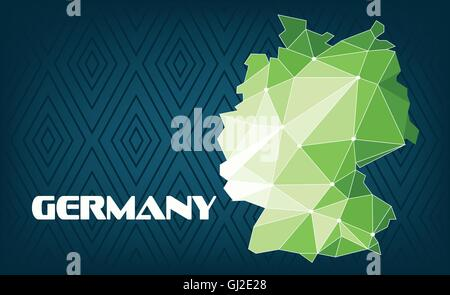 Germany country map design with green and white triangles over dark blue background with squares. Digital vector - Stock Photo