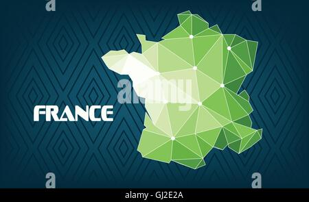France country map design with green and white triangles over dark blue background with squares. Digital vector - Stock Photo