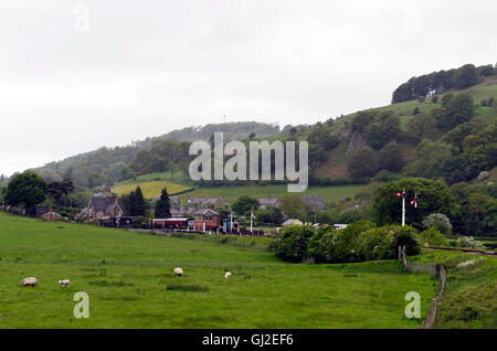 Steam tank locomotive-hauled train approaching Carrog Station on the Llangollen railway in North Wales. - Stock Photo