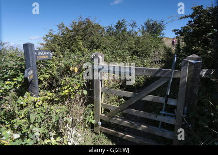 A gate on the Ridgeway path in hertfordshire - Stock Photo