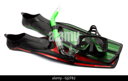 Mask, snorkel and flippers of different colors with water drops. Diving gear on white background. - Stock Photo