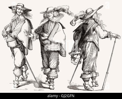 French costumes, 17th century - Stock Photo