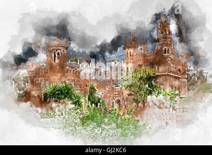 Digital watercolor painting of a Colomares Castle - Stock Photo