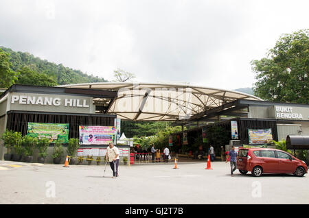 Travelers and malaysian people travel and buy ticket at Penang Hill on April 26, 2016 in Penang, Malaysia - Stock Photo