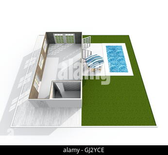 3d interior rendering perspective view of empty bungalow apartment with green garden and swimming pool - Stock Photo