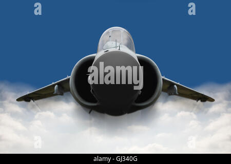 Concept, Digitaly altered fighter jet flying fast in the blue sky - Stock Photo