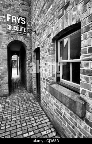 Alleyway behind Jubilee Confectioners at the Beamish Open Air Museum, near Stanley in County Durham England UK - Stock Photo