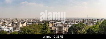 Panoramic view of Paris from Sacre Coeur Basilica, Paris, France - Stock Photo