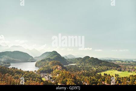 View from castle Neuschwanstein, Hohenschwangau, Bavaria, Germany - Stock Photo