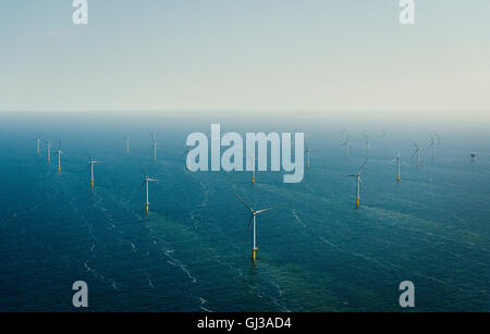 Aerial shot of an offshore wind farm off the Dutch coast, IJmuiden, North Holland, Netherlands - Stock Photo