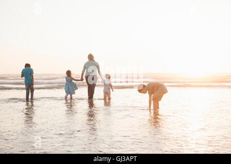 Family holding hands paddling in ocean - Stock Photo