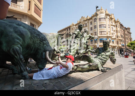 Famous bull running through streets of Pamplona,Spain.July festival,event. - Stock Photo