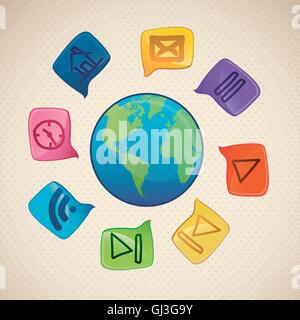 illustration of sketches of icons in text bubbles arround the wo - Stock Photo