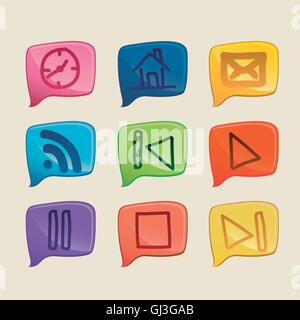 illustration of sketches of icons in different colors vector ill - Stock Photo