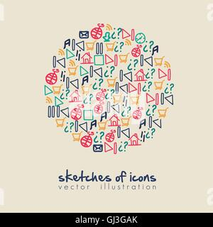 illustration of planet of sketches icons in colors vector illust - Stock Photo