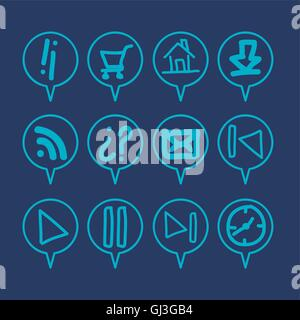 illustration of sketches icons in blue color vector illustration - Stock Photo